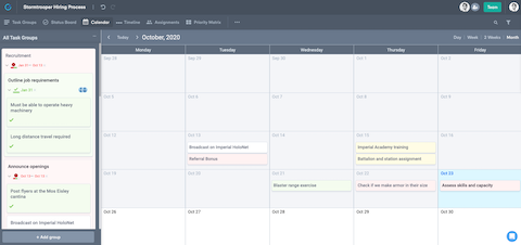 Calendar view to manage project schedules