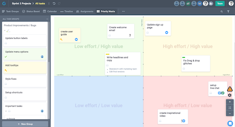 visualize task priorities on an effort value matrix