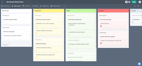 Subtask's kanban board for viewing project status
